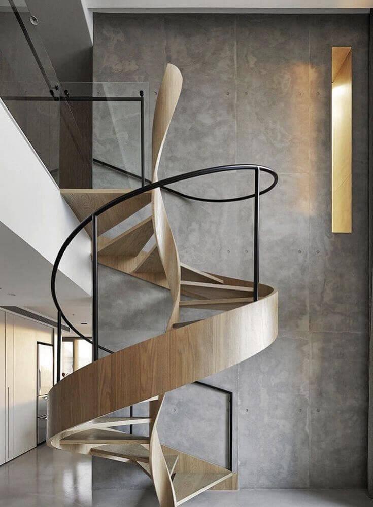 escada caracol de madeira designer moderno