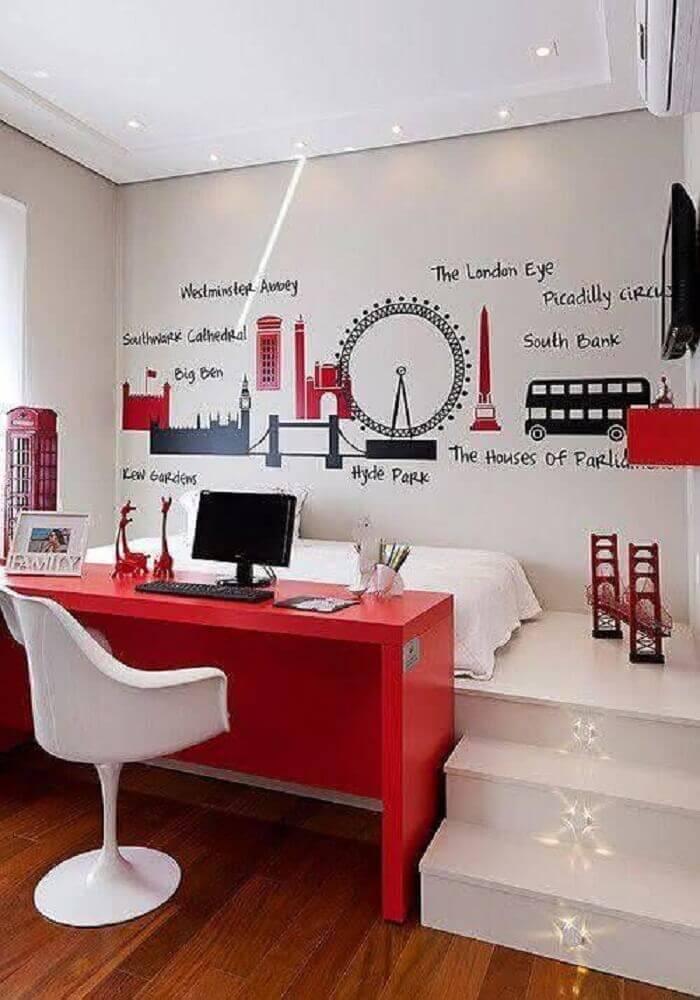 escrivaninha para quarto vermelha