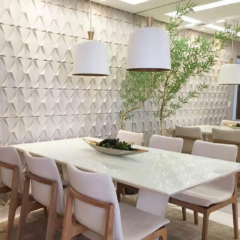espelho para sala de jantar toda branca decorada com revestimento 3d Foto Revestindo a Casa
