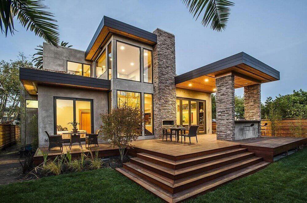 fachada de casa com mix de rústico e moderno