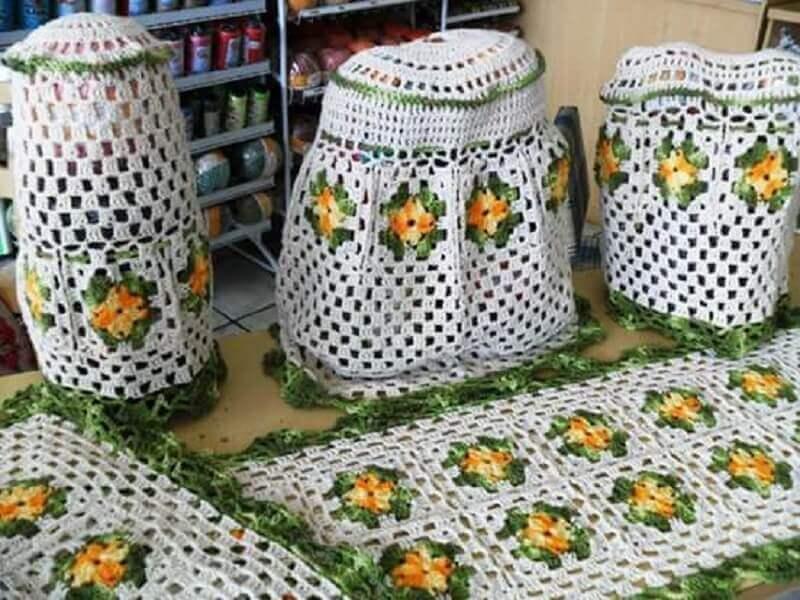 jogo de cozinha de crochê em barbante colorido