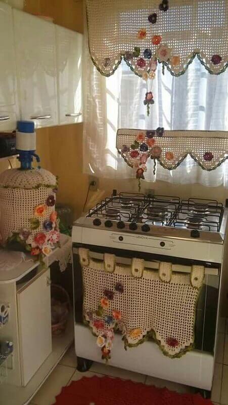 jogo de cozinha de crochê em barbante com cortina