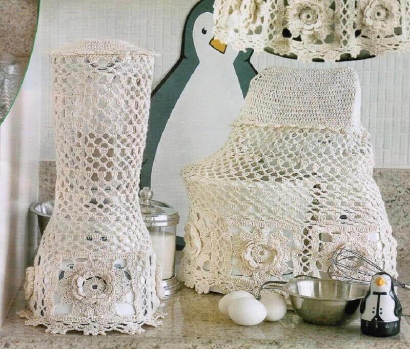 jogo de cozinha de crochê em barbante