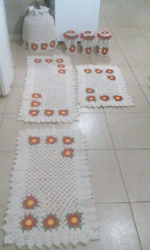 jogo de tapete de crochê para cozinha com flores