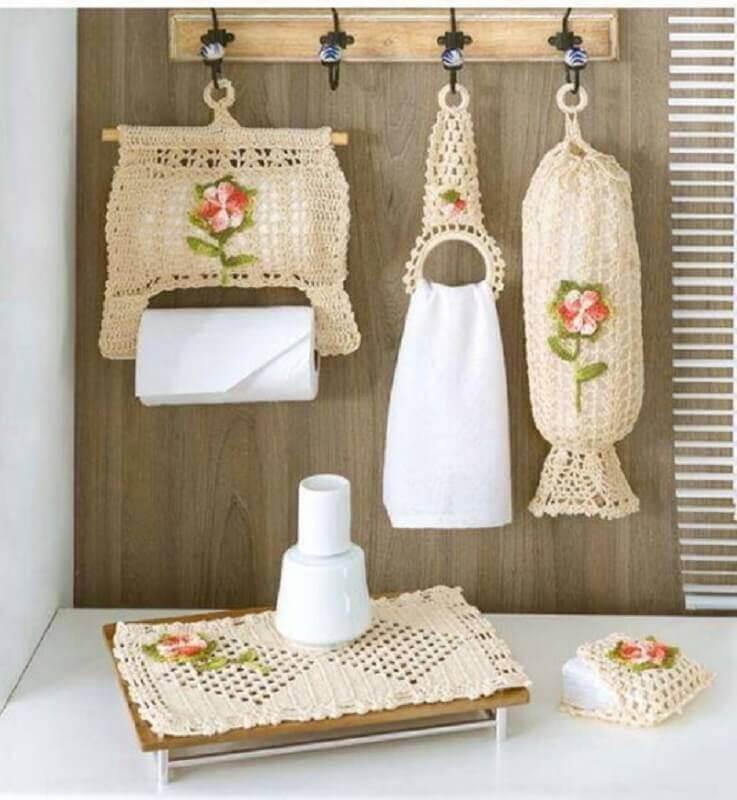 lindo kit de jogo de cozinha de crochê