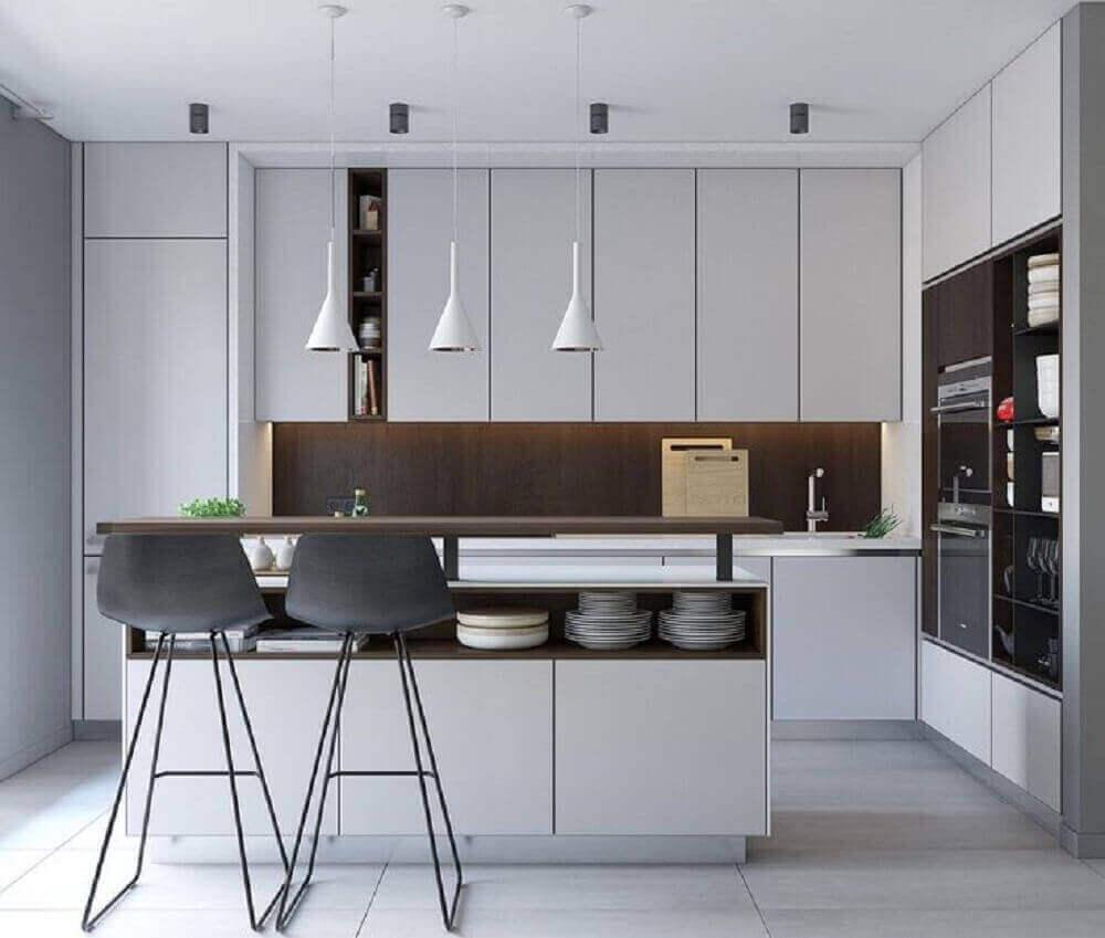 luminária branca e moderna para cozinha