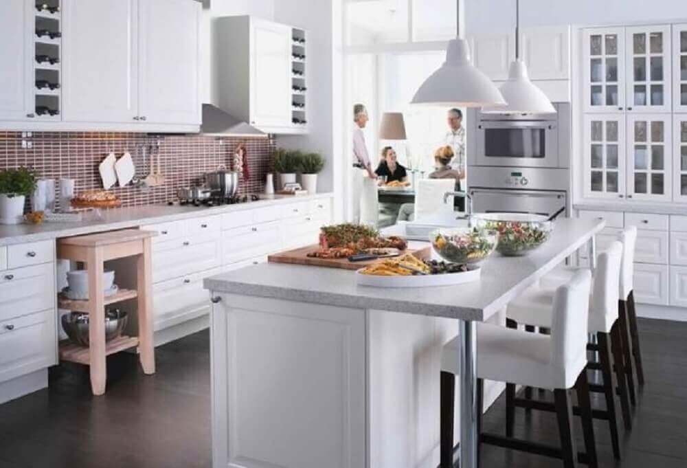 luminária branca para cozinha americana