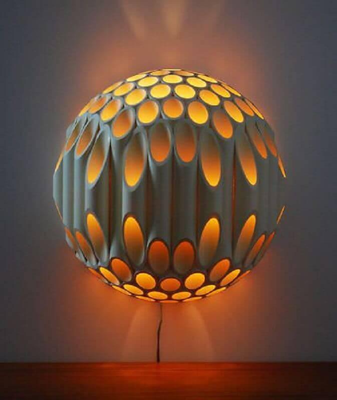 luminária de pvc redonda