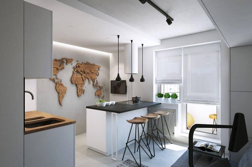 luminária para cozinha americana pequena