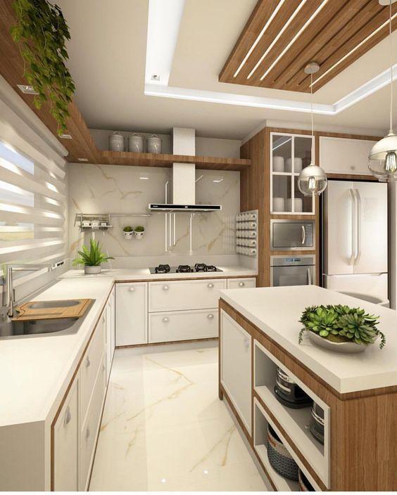 luminária para cozinha - cozinha com bancada de madeira