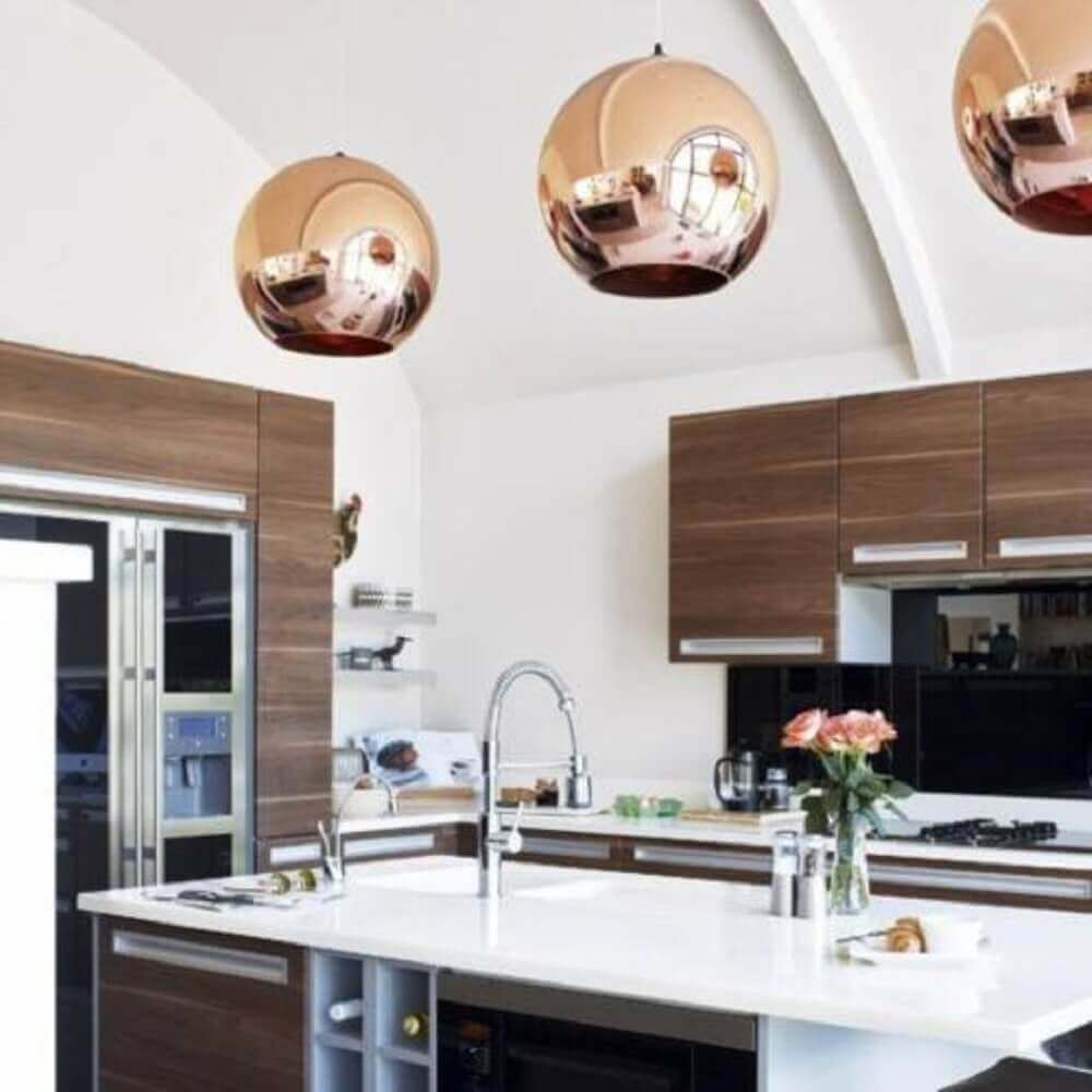 luminária para cozinha redonda e rose