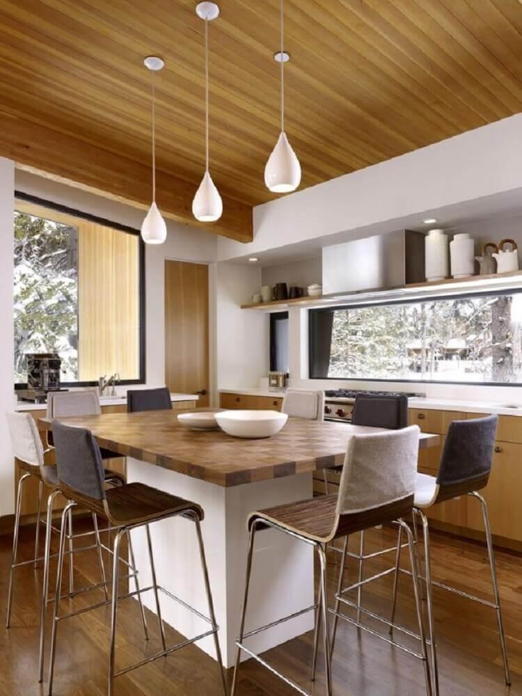 luminária pendente para cozinha branca