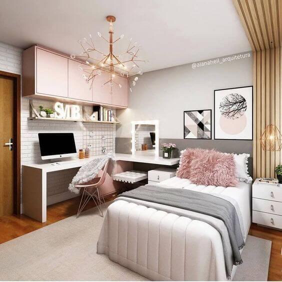 Luminária para quarto na cor cobre