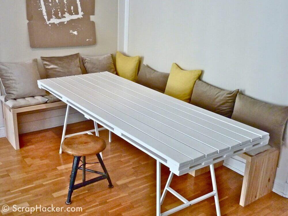mesa de jantar de pallet branco