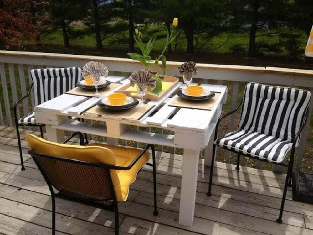 mesa de pallet simples para varanda