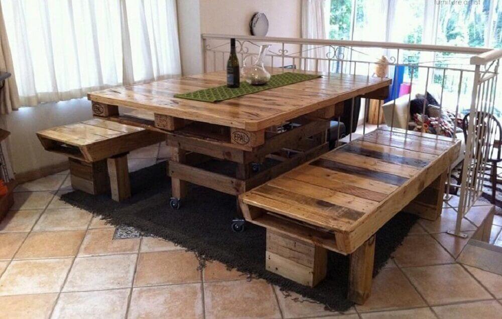 Mesa de pallet 50 modelos para inovar na decora o de for Mesa de pallet