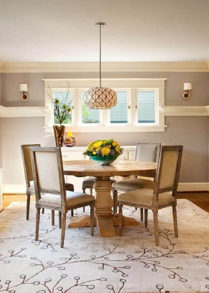 mesa de madeira para sala de jantar redonda