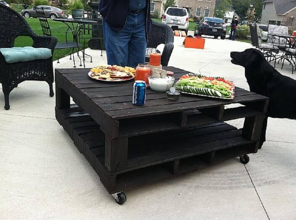 mesa de pallet preta