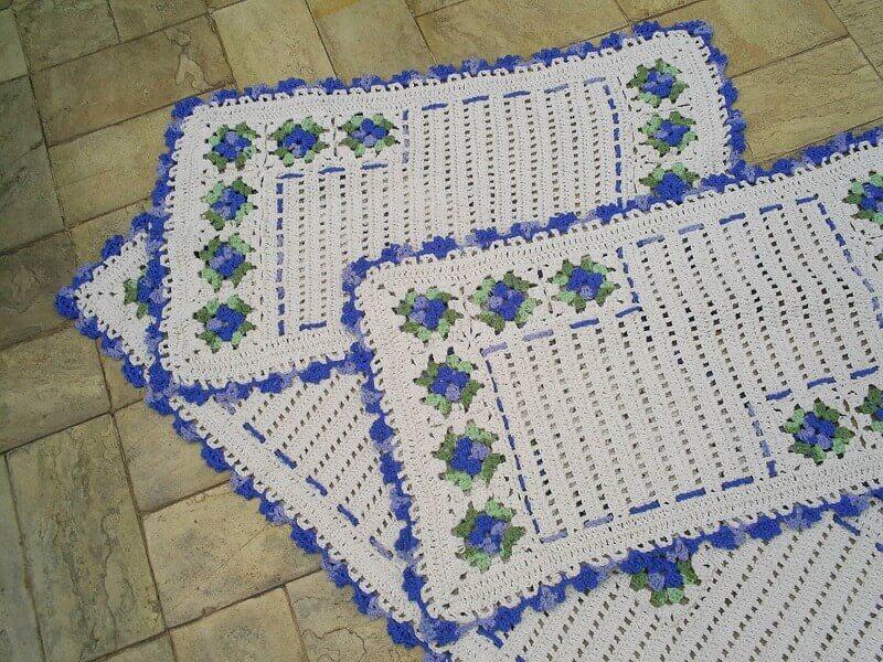 modelo de jogo de tapete de crochê para cozinha azul