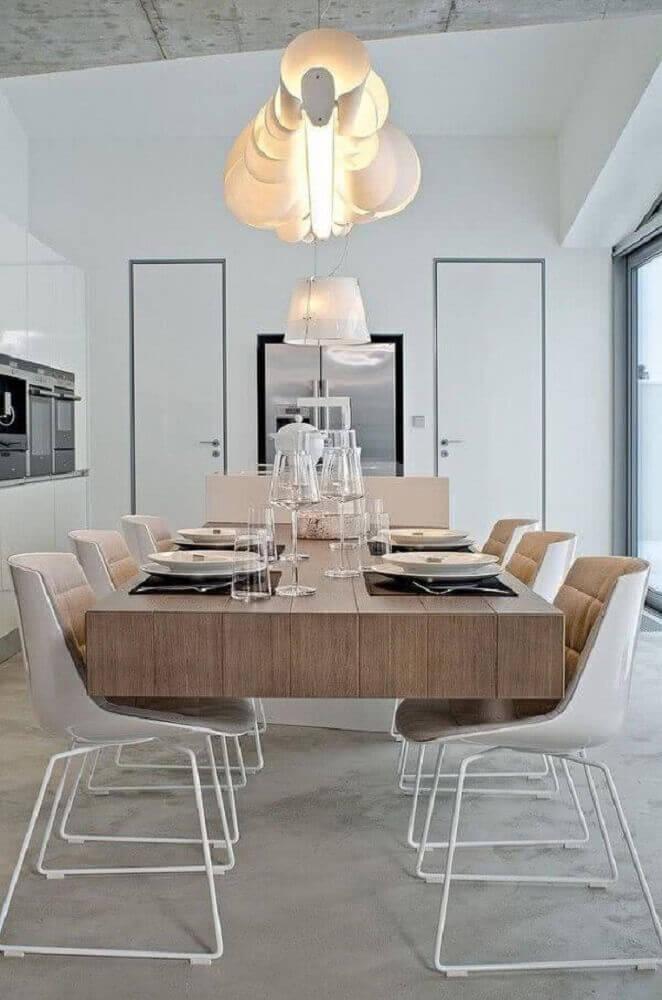 modelo de mesa de madeira moderna para sala de jantar
