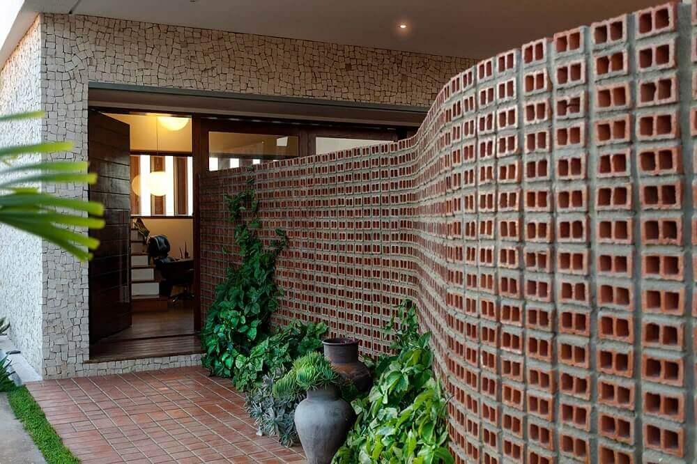 muros de casas com tijolo aparente