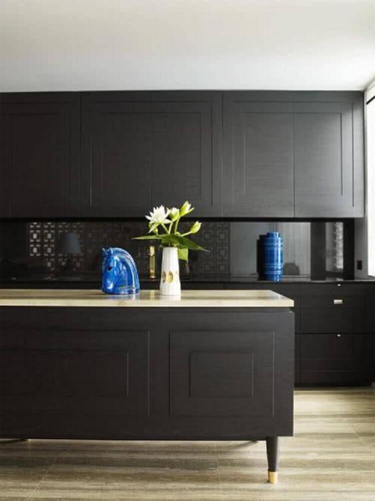 objetos para cozinha preta