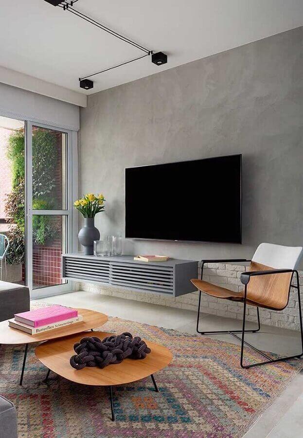 parede de cimento queimado para decoração de sala cinza moderna  Foto Pinterest