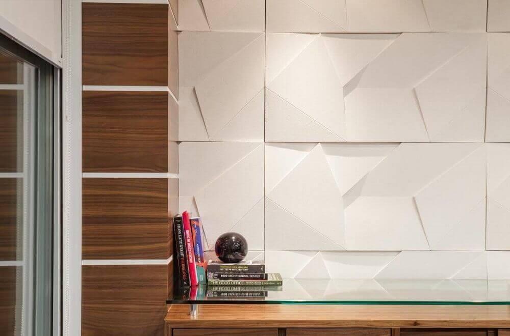 parede de gesso 3d com madeira
