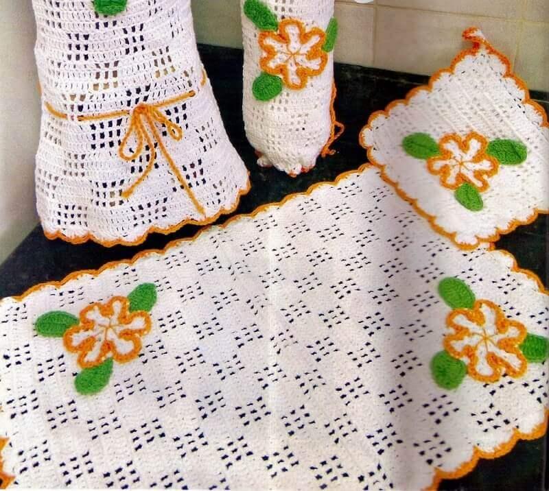 peças de Jogo de Cozinha de Crochê
