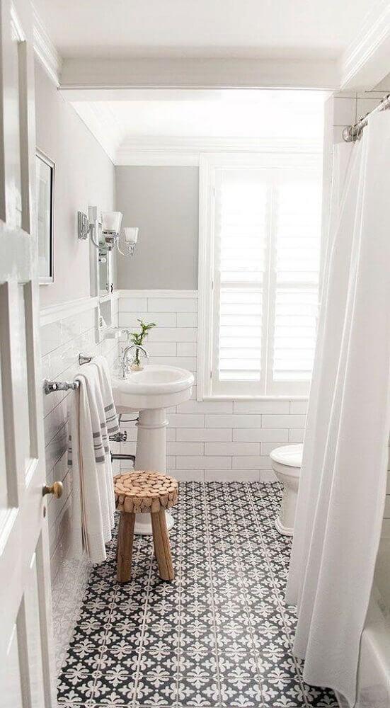 piso estampado para banheiro branco