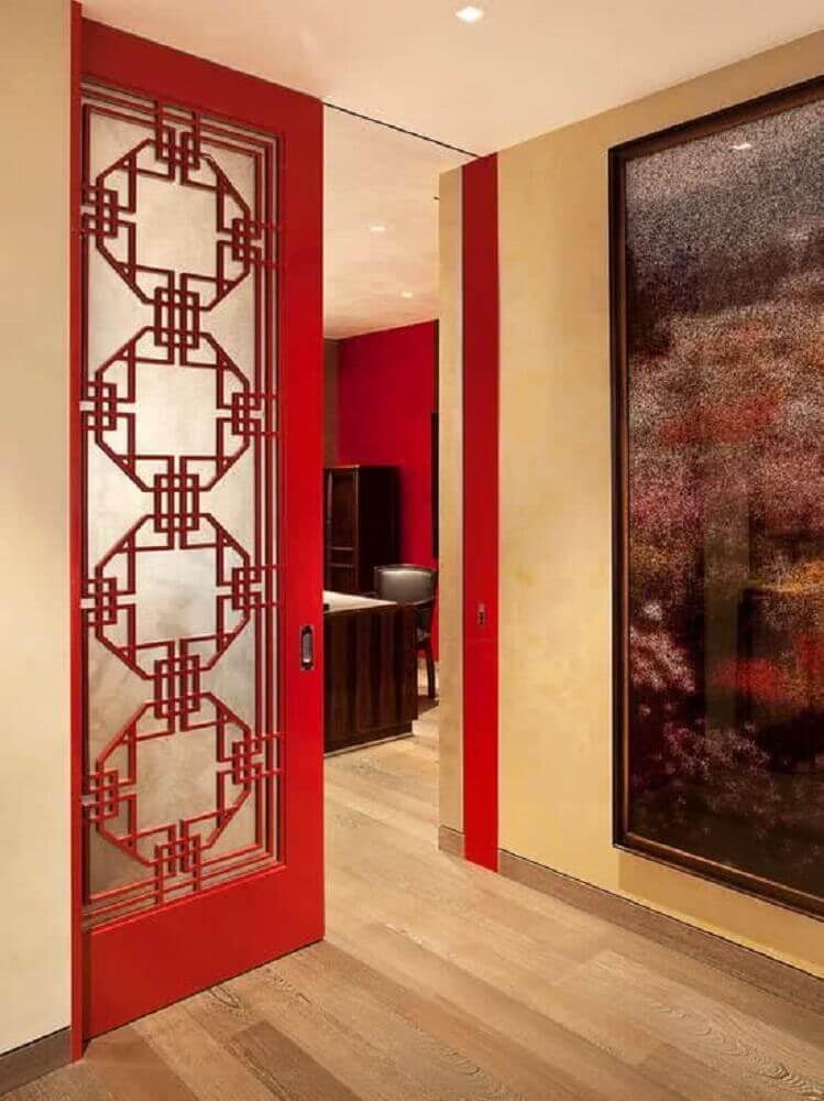porta vermelha retrô