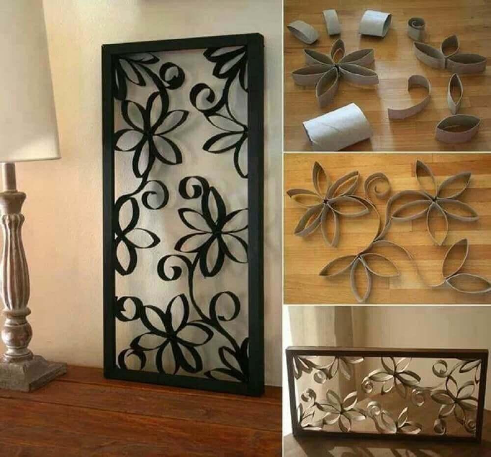 quadro de artesanato com rolo de papel higiênico