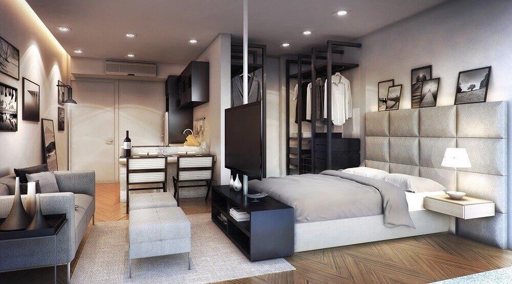 quarto com paredes de gesso