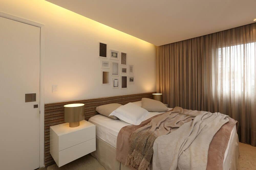 quarto de casal decorado com sanca