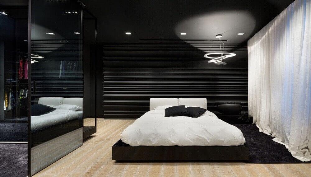 quarto preto com luminária para quarto moderno