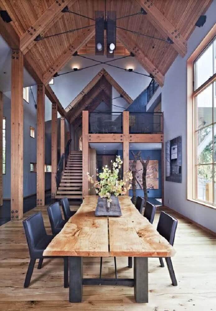 sala de jantar com Modelos de mesas rusticas