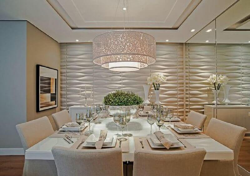 sala de jantar parede de gesso 3D