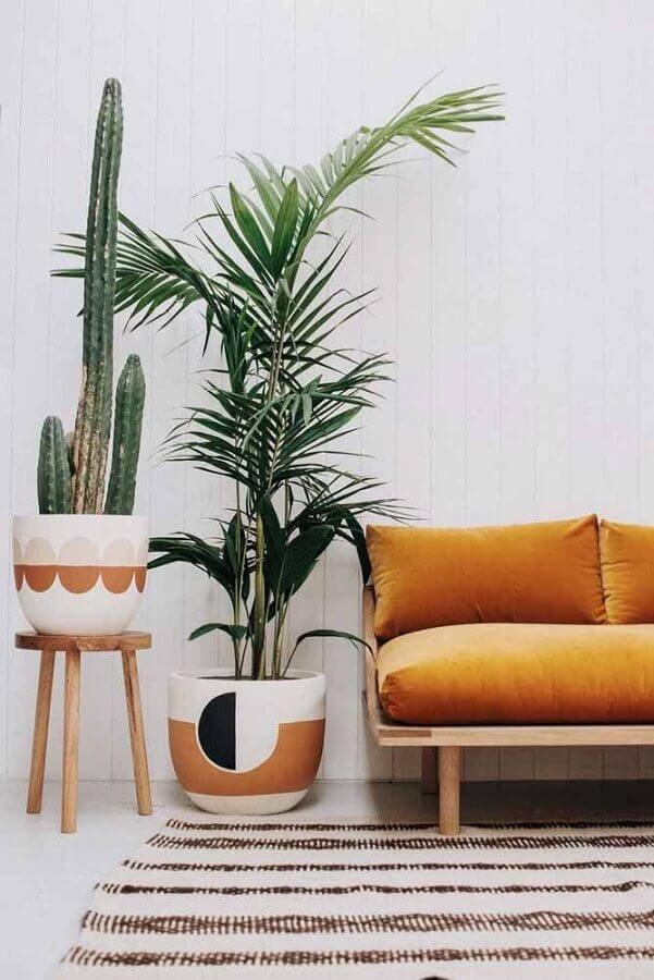sala decorada com vasos decorativos de cermanica Foto Ideias Decor