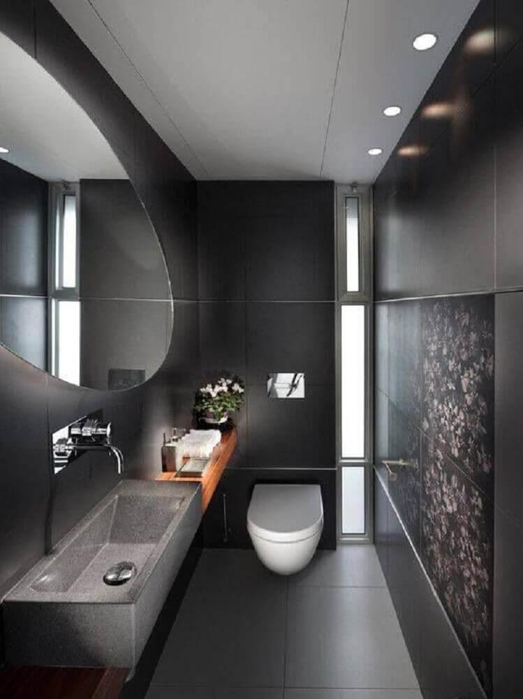 sofisticado banheiro preto moderno