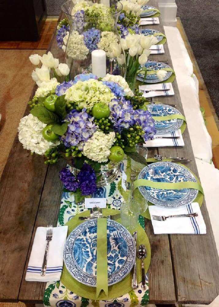 sousplat verde mesa rústica