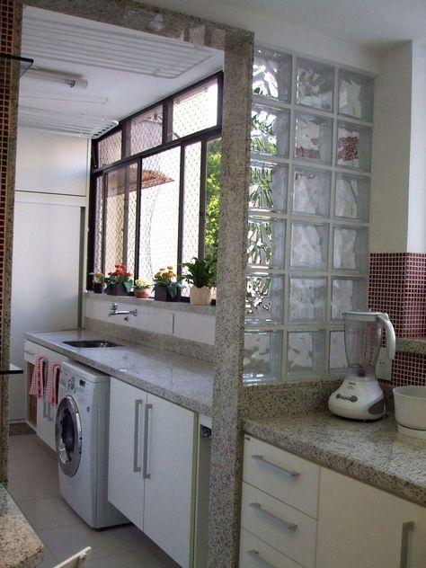 tijolo de vidro - lavanderia com tijolo de vidro