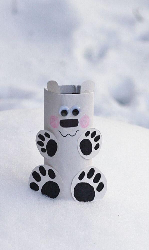ursinho feito de artesanato com rolo de papel higiênico