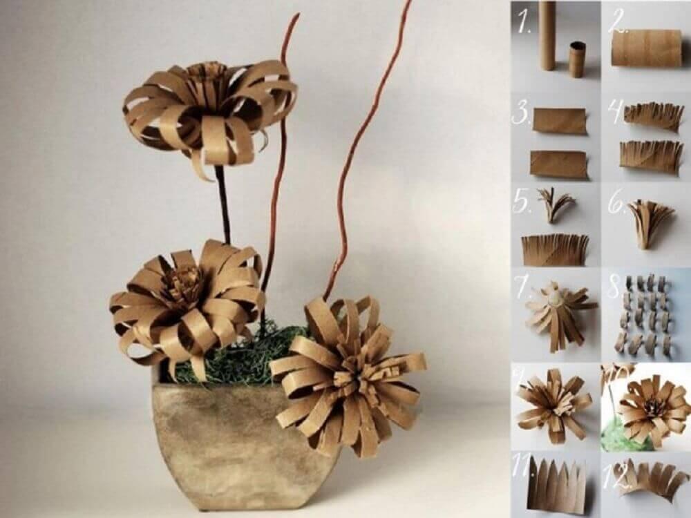 vaso de flor de rolo de papel higiênico