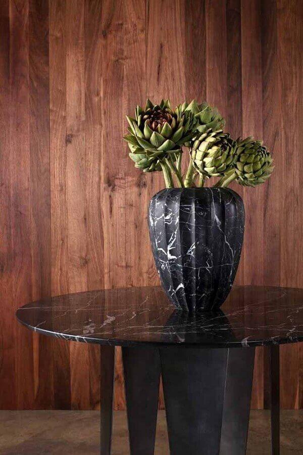vasos decorativo preto com detalhe marmorizado Foto Pinosy