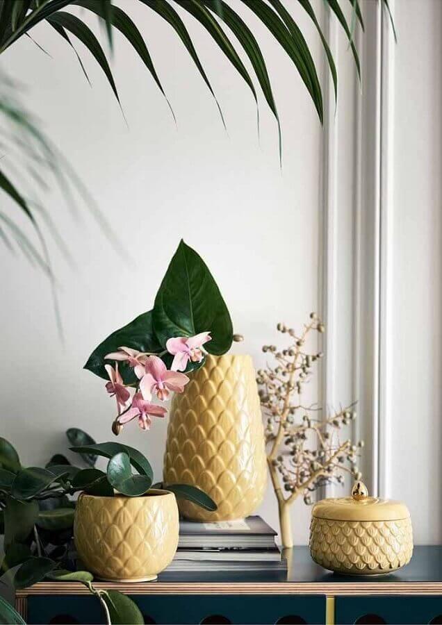 vasos decorativos amarelos Foto Ideias Decor