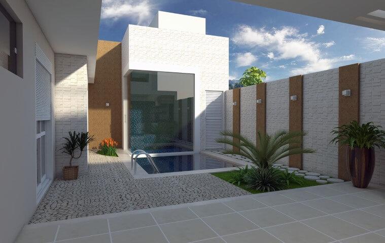 Arandelas externas na área da piscina Projeto de Arquiteto Caio Pelisson