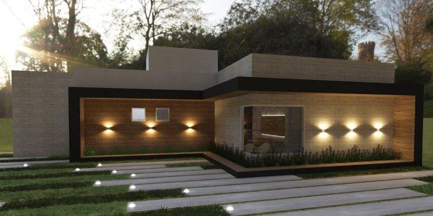 Arandelas externas na fachada Projeto de Fernanda Pereira