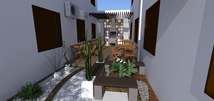 Banco de concreto em área externa Projeto de Caue Farias Fazzion