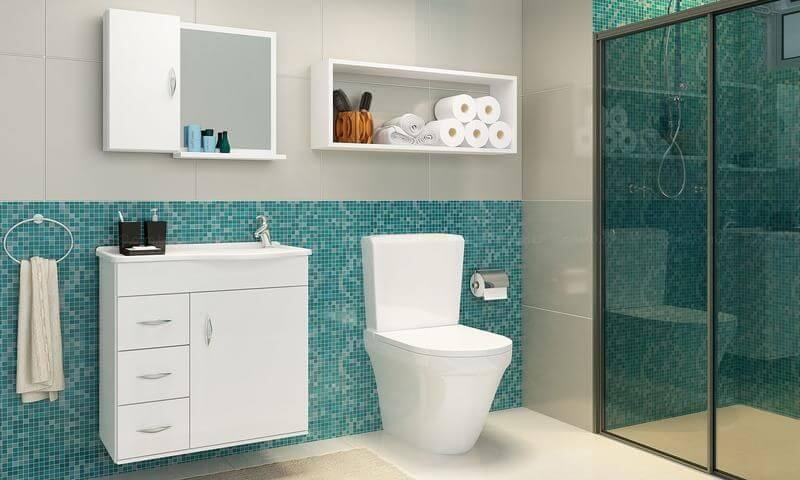 Banheiro com azul Tiffany Projeto de Lojas KD