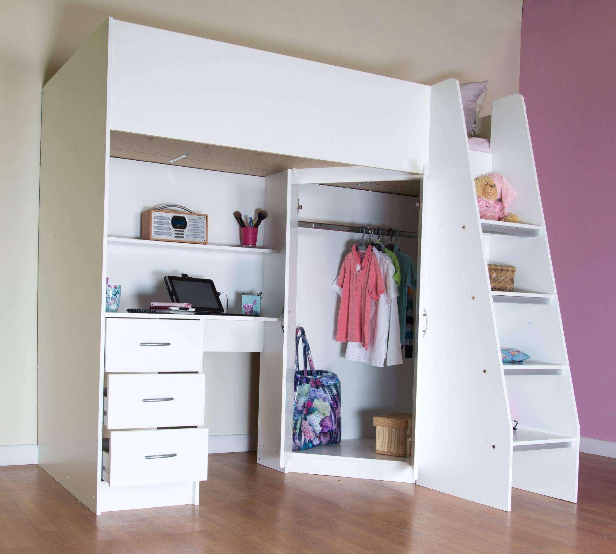 Beliche com armário embutido e escrivaninha